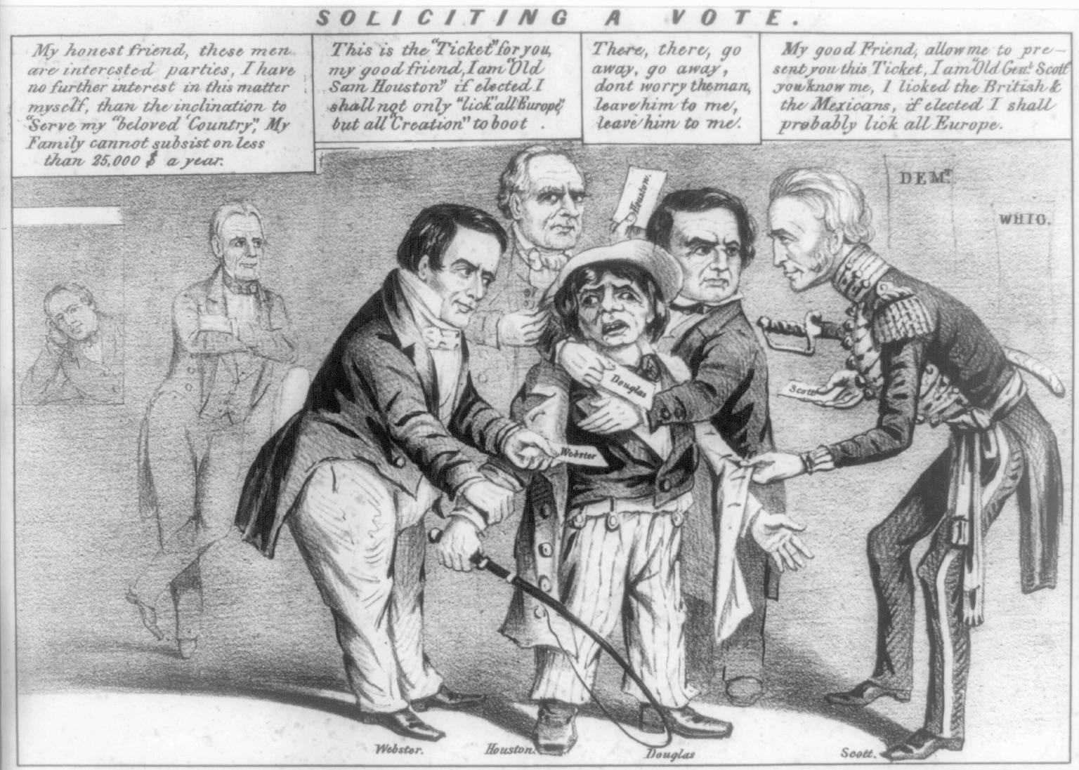 """Soliciting a Vote"" – an 1852 political cartoon"