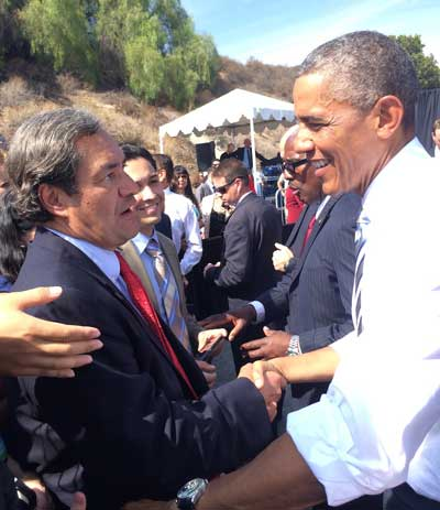 Robert García with former President Barack Obama during the designation of the San Gabriel Mountains as a National Monument | García family / The City Project