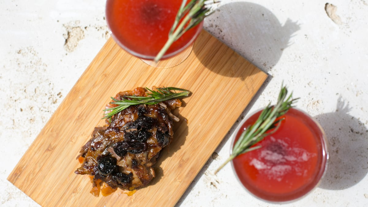 Braised lamb belly with sour cherry compote | Carla Choy