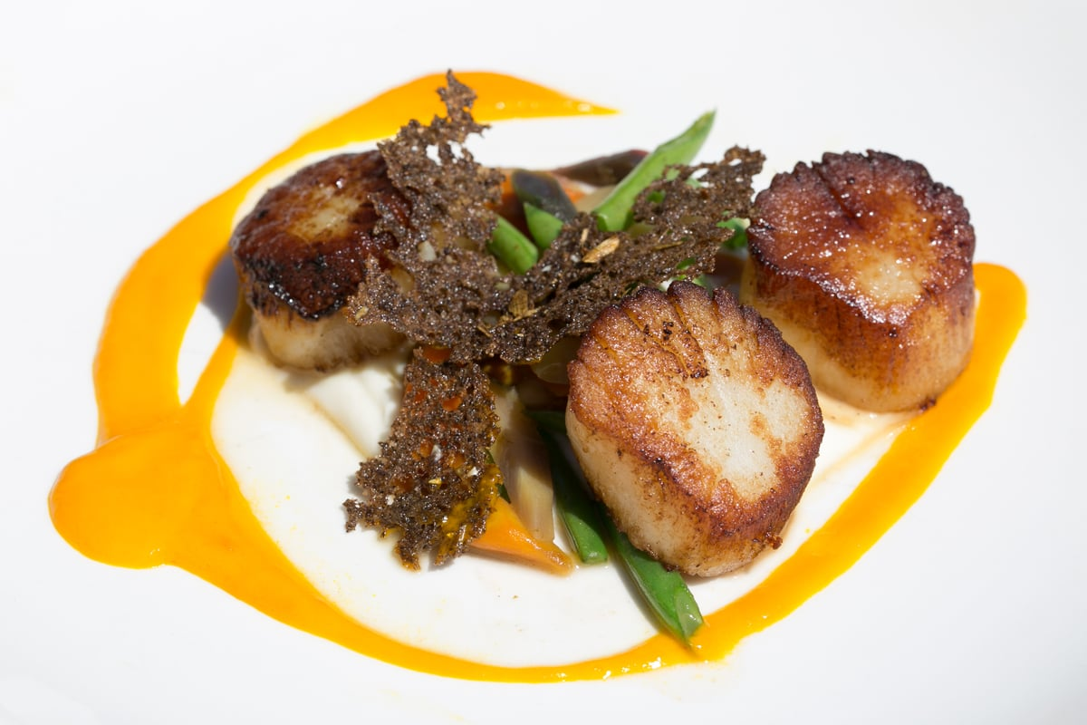 Sautéed Day Boat Scallops with Carrots Three-ways | Carla Choy