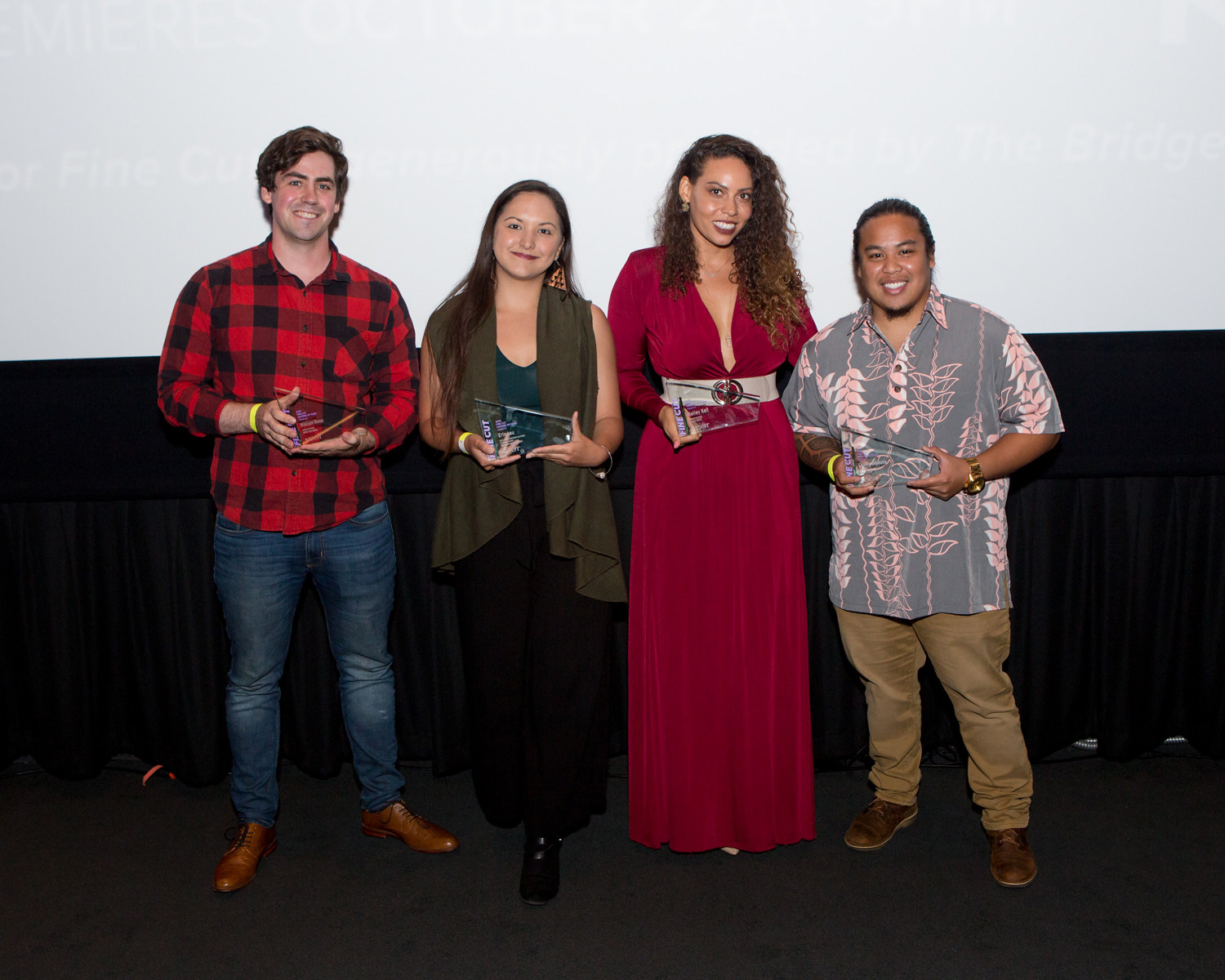 UCLA student William Rowe, Chapman University's Erin Lau, University of Southern California (USC) film school student Kelley Kali and USC's Shaun Dikilato accept their finalist awards at KCET's FINE CUT Festival of Films at the Landmark Theatre on Septemb