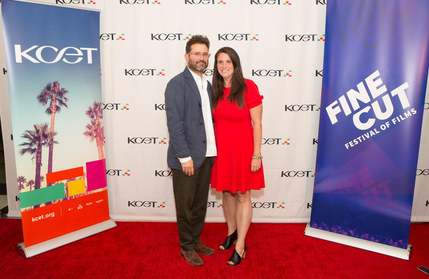 KCET Chief Creative Officer Juan Devis and Public Media Group of Southern California Chief Operating Officer Jamie Annunzio Myers arrive at KCET's FINE CUT Festival of Films at the Landmark Theatre on September 26, 2019.