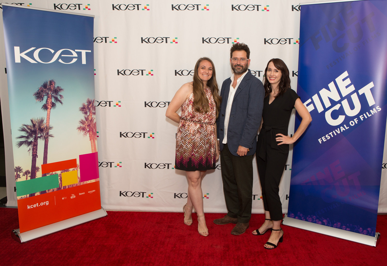KCET Producer Angela Boisvert, KCET Chief Creative Officer Juan Devis and KCET Producer Erin Ball arrive at KCET's FINE CUT Festival of Films at the Landmark Theatre on September 26, 2019.
