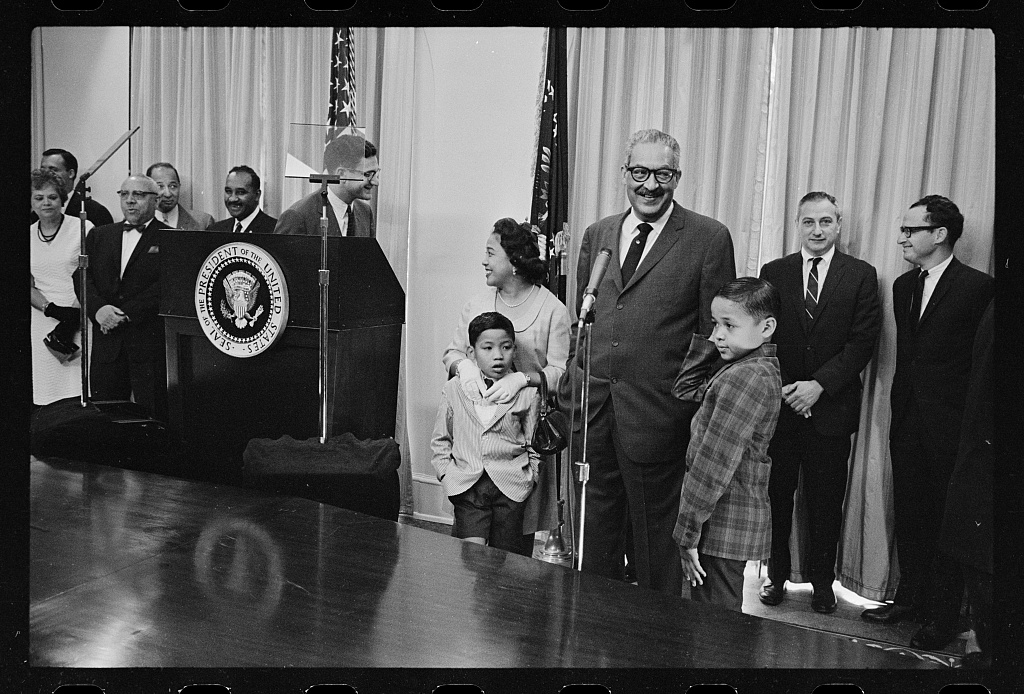 Thurgood Marshall sworn in as Solicitor General, Marion S. Trikosko photographer, August 24, 1965, Prints and Photographs Division, Library of Congress