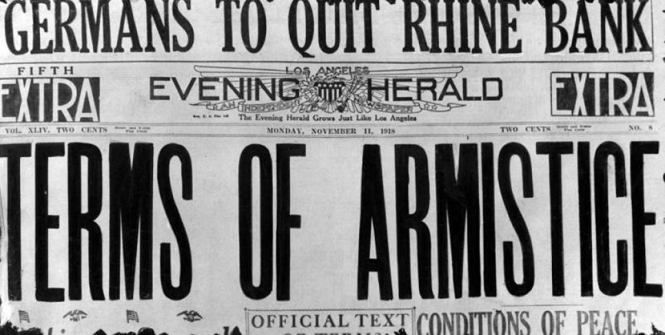 The headline of the Los Angeles Evening Herald on November 11, 1918 marks the end of World War I. | Herald Examiner Collection/Los Angeles Public Library Collection