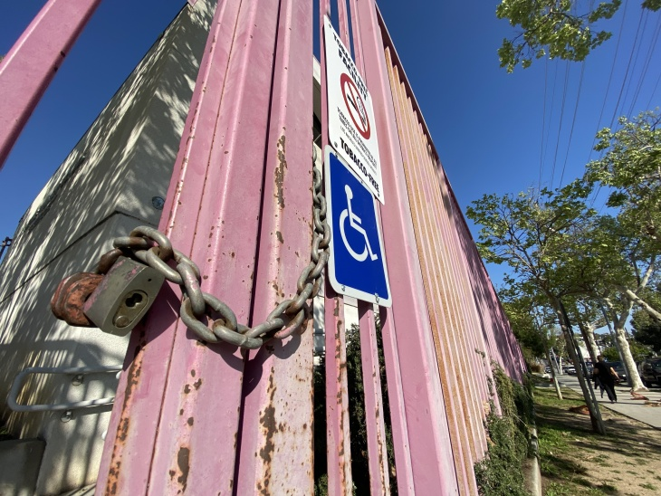 A padlocked entrance to Bellevue Primary Center, an L.A. Unified School District campus in Silver Lake, on April 1, 2020. | Kyle Stokes/LAist