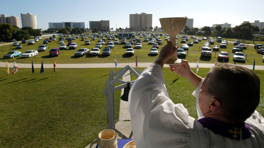 Churches nationwide offered drive-in services over Easter weekend to comply with local orders.   Joe Raedle/Getty Images