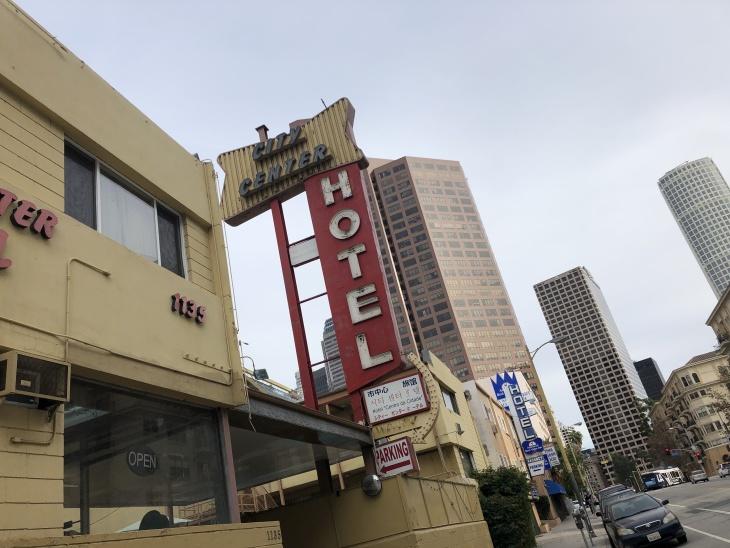 A hotel near downtown Los Angeles. | Matt Tinoco/LAist