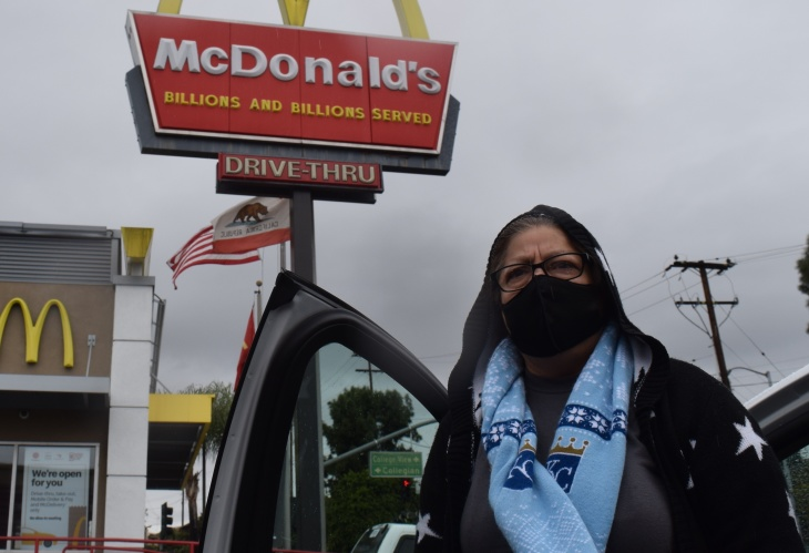 Laura Pozos works at a McDonald's in Monterey Park and lives in a three-bedroom home with 10 family members. (Courtesy of Fight for $15 and a Union)