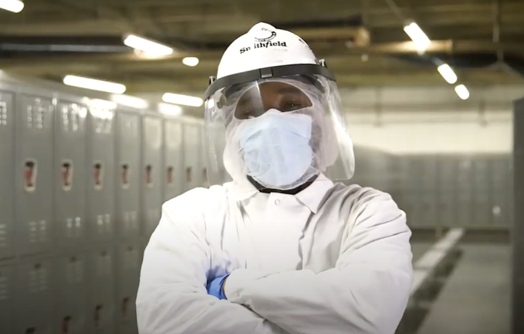 A Smithfield video shows personal protection equipment (PPE) that's given to workers (Screenshot from Smithfield Foods