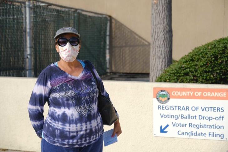 Ofelia Gonzales at the Orange County Registrar. | Chava Sanchez/LAist