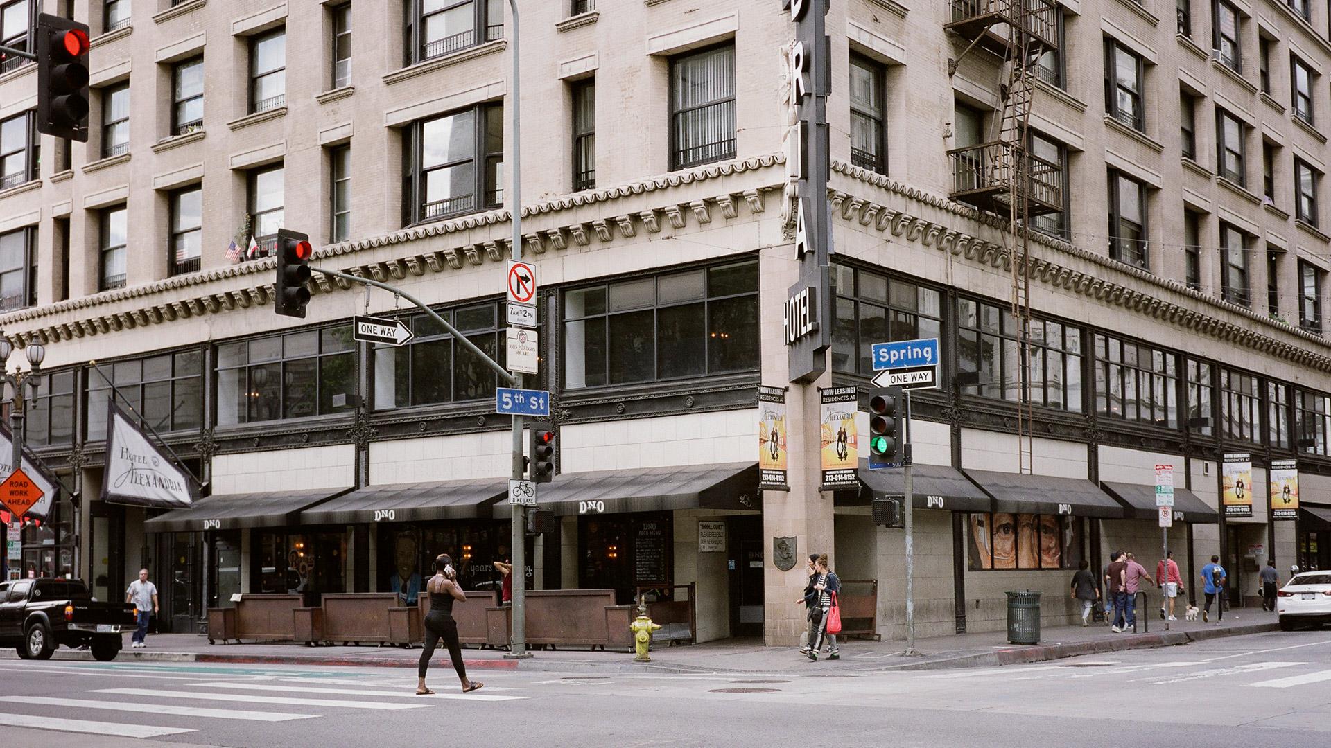 SW Corner of E. 5th Street & Spring Street