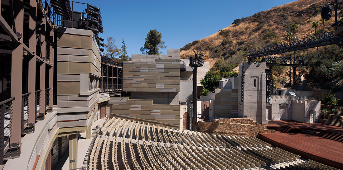 Interior of the John Anson Ford Amphitheatre, featuring the sound absorptive and acoustic wall panel and the new projection booth and control room. | Tom Bonner