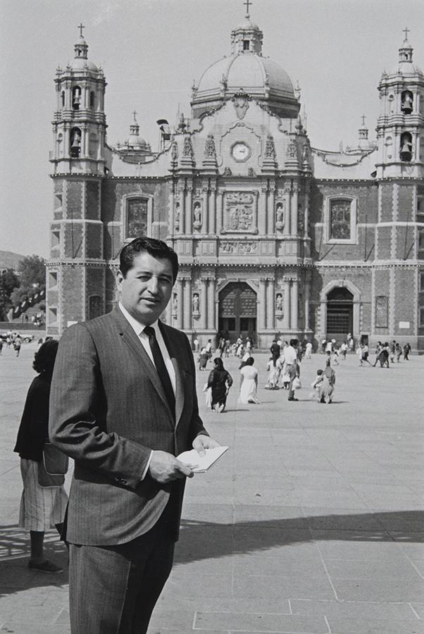 Rubén Salazar in Zocalo, the Plaza de la Constitucion (Constitution Square) in Mexico City, 1966-1968 | Rubén Salazar (1928-1970) Papers, USC Libraries Special Collections
