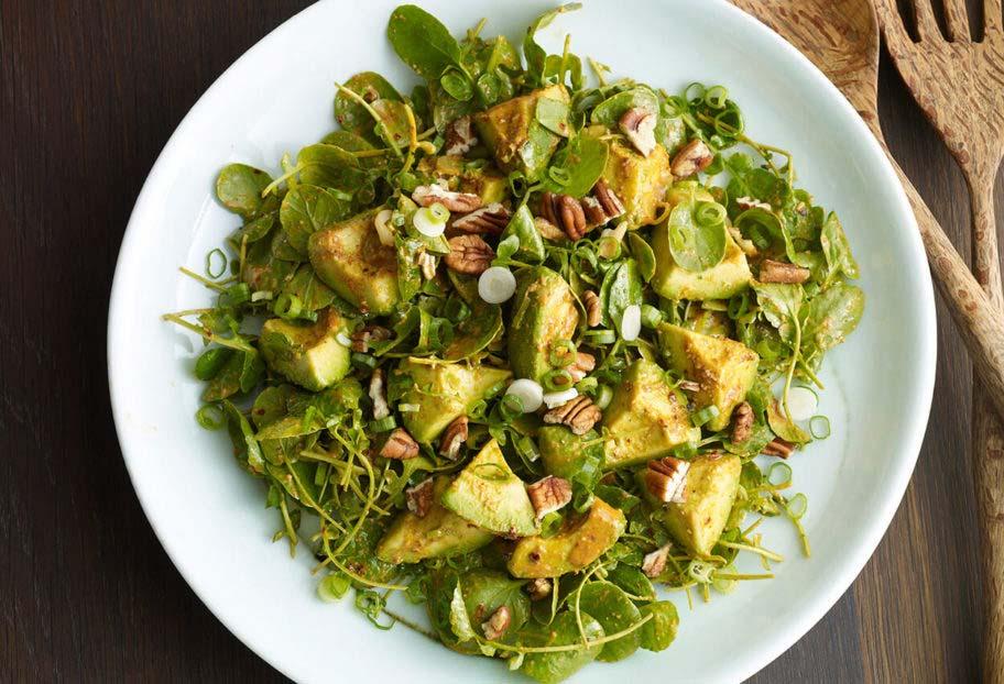 avocado watercress pecan salad