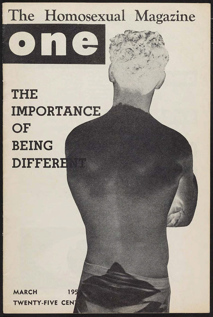 ONE magazine, volume 2, number 3 (1954 March). | Carl Shaffritz, cover, ONE National Gay and Lesbian Archives, USC Libraries