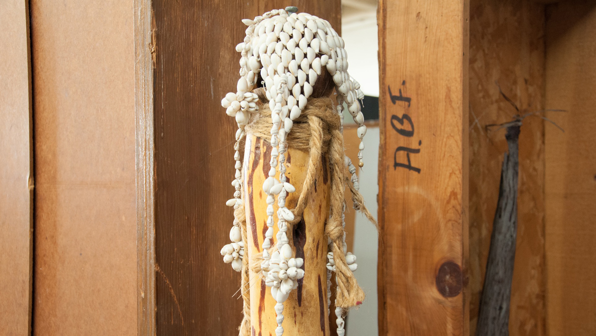 Shiokava macramé and wood totem