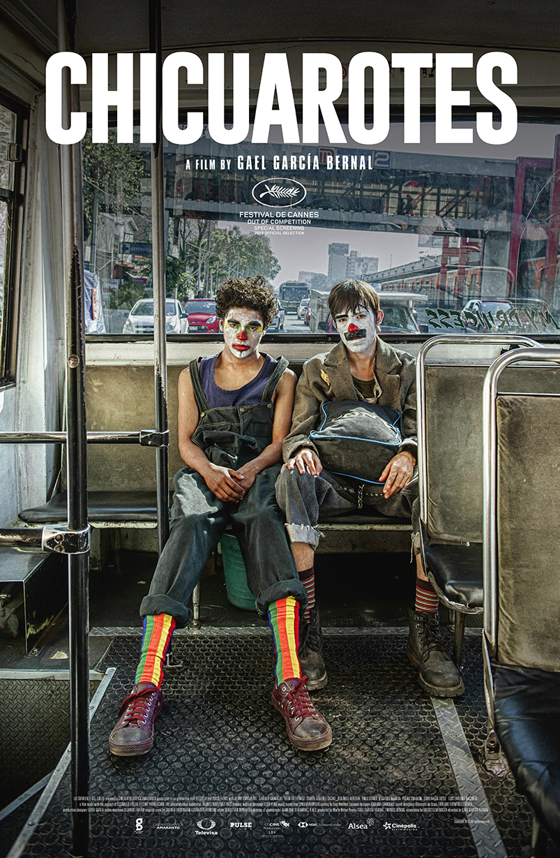 """""""Chicuarotes"""" is the second film directed by Gael Garcia Bernal and the opening film of the festival. The poster shows two young mean with clown faces sitting at the back of a bus. 