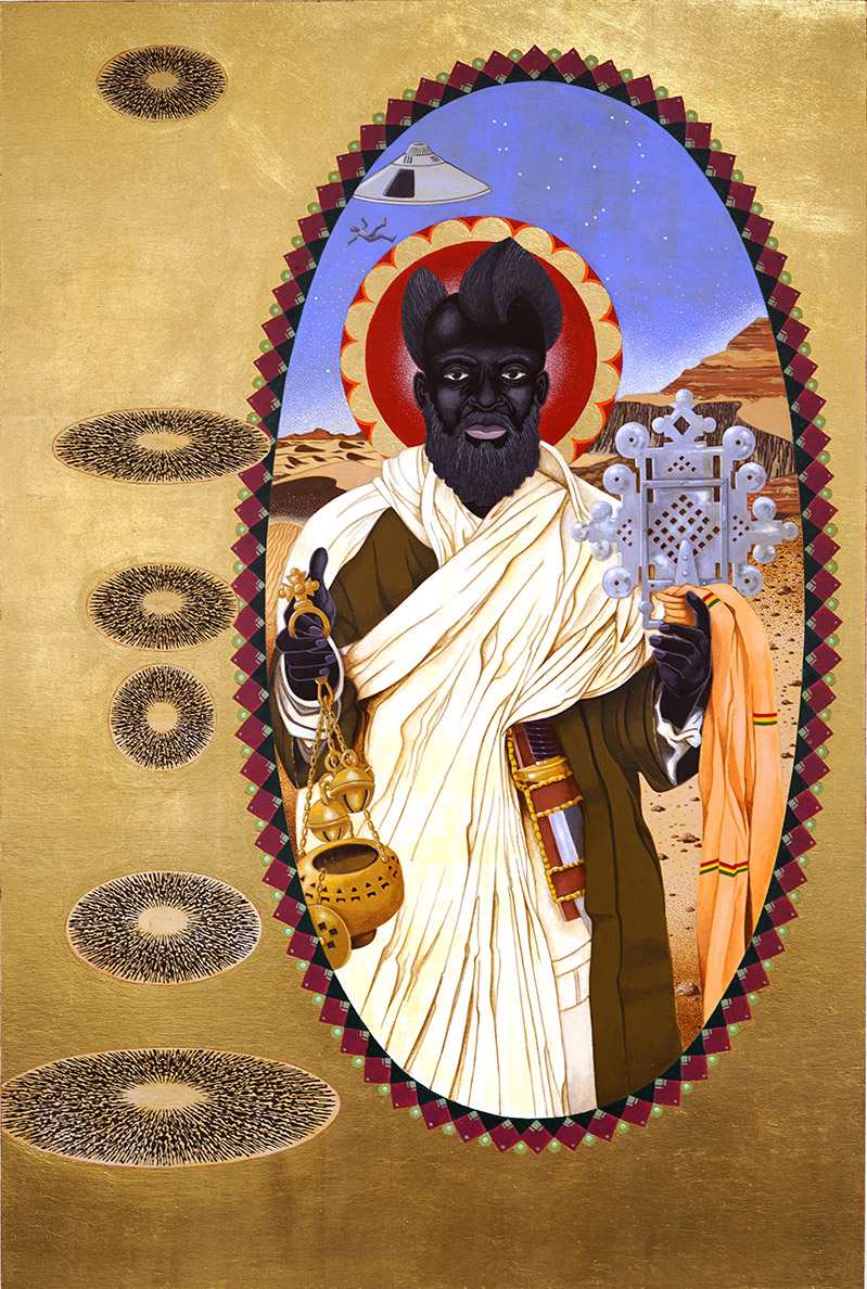 St. Moses the Black, aka Abba Moses the Robber (2020), gold leaf and acrylic on wood panel, 36 x 24 inches | Courtesy of Mark Steven Greenfield