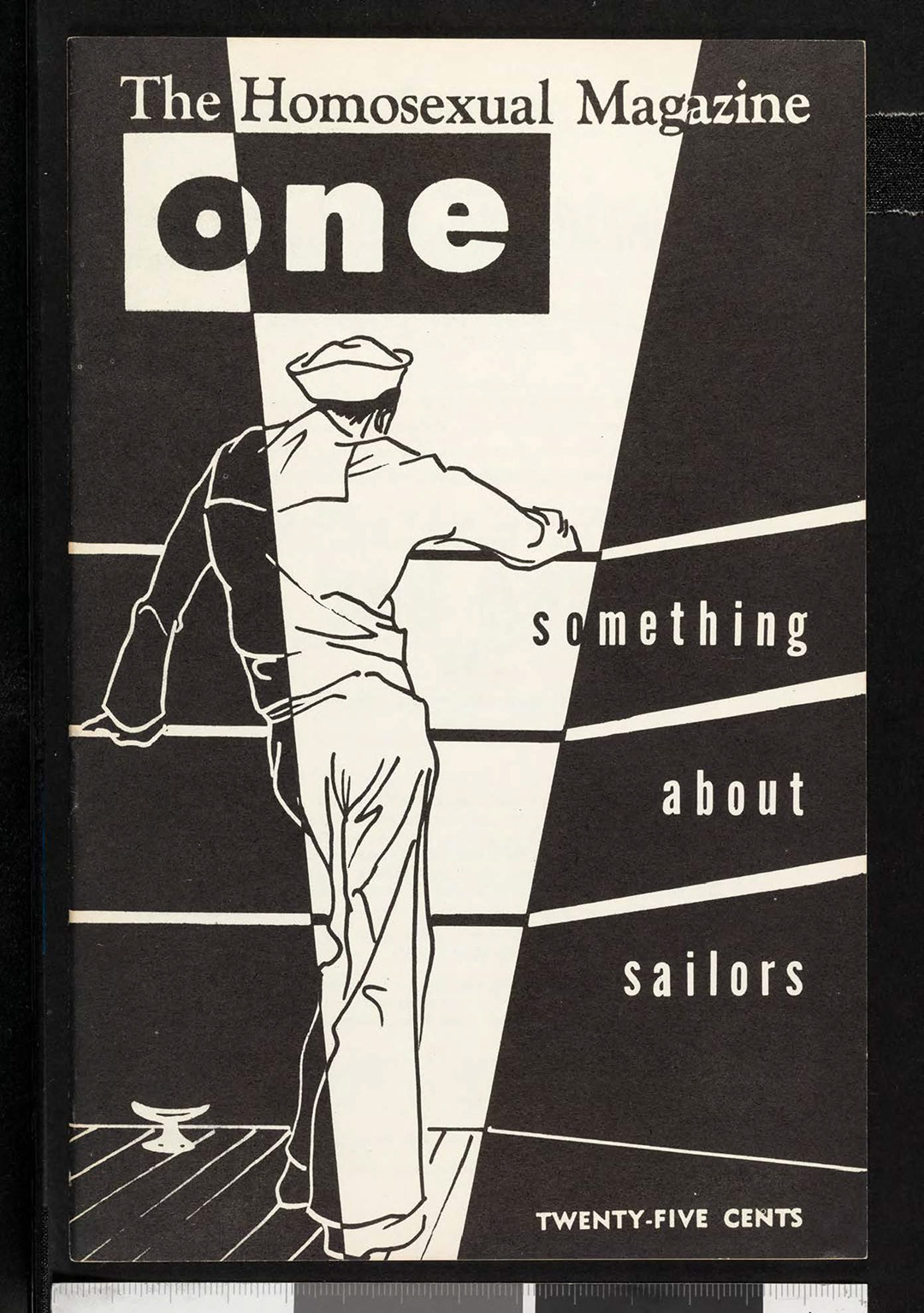 Cover of ONE magazine, volume 5, number 5 (1957 May). | Eve Elloree, cover, ONE National Gay and Lesbian Archives, USC Libraries