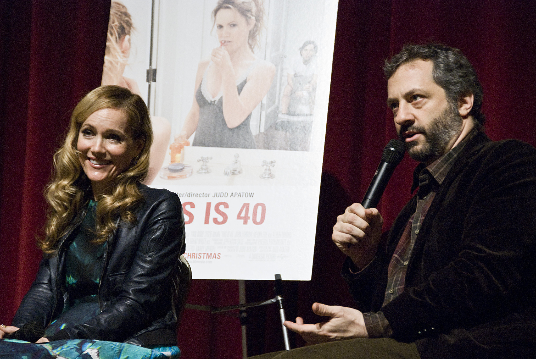 "Leslie Mann and Judd Apatow answered audience questions at the December 4, 2012 KCET Cinema Series screening of ""This is 40."""
