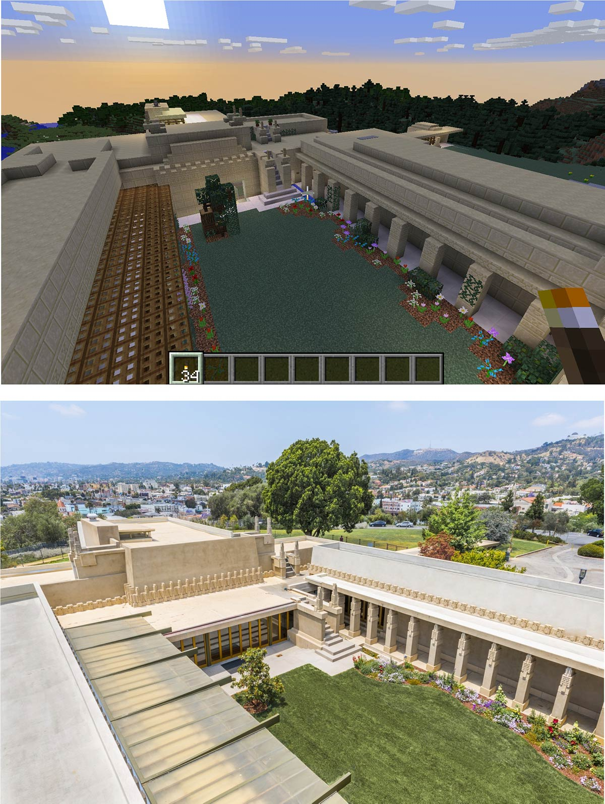 A side-by-side of the original and the Wrightcraft recreation of Frank Lloyd Wright's Hollyhock House's inner courtyard | Kate Hedin FLW AB s9