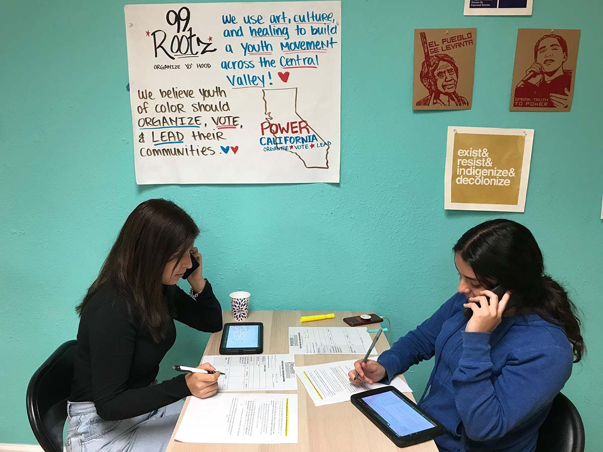 99Rootz youth leaders at a volunteer phone bank at an office in Atwater, Merced County in Spring 2020.   Crisantema Gallardo