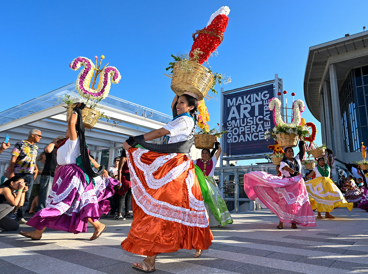 Ballet Folklorico Nueva Antequera joins the celebration of the grand reopening of The Music Center's newly renovated plaza during The Music Center's Plaza for All Celebration. | Courtesy of The Music Center.