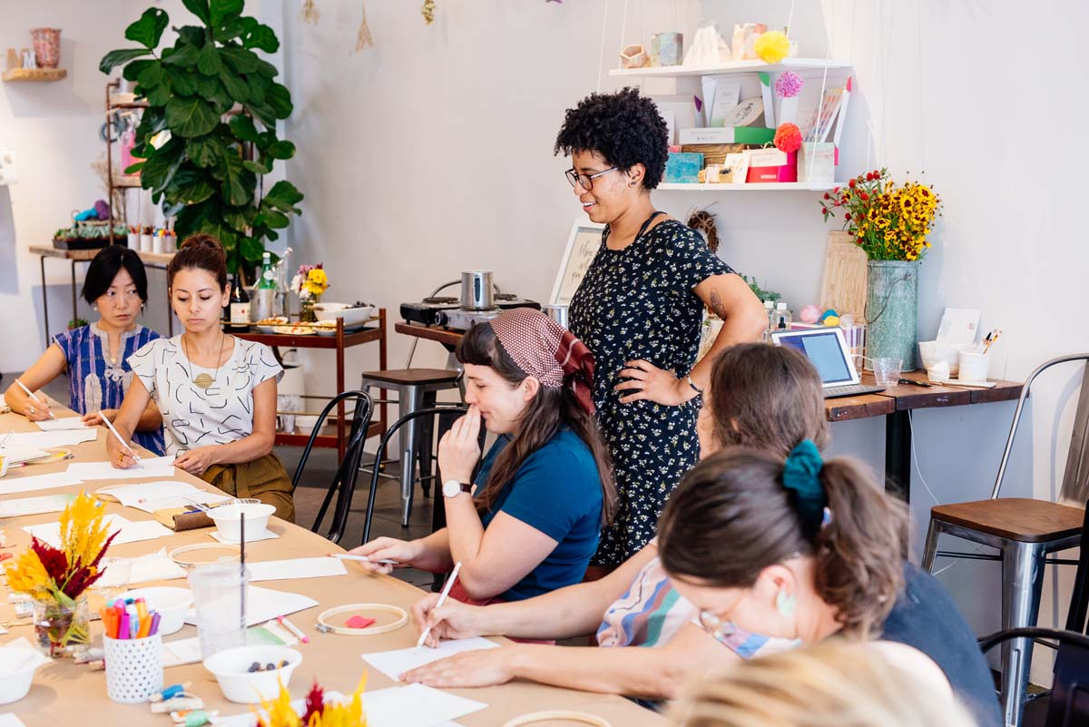 Workshop sessions at Makers Mess with Kahbia show crafters learning how to embroider | Courtesy of Makers Mess