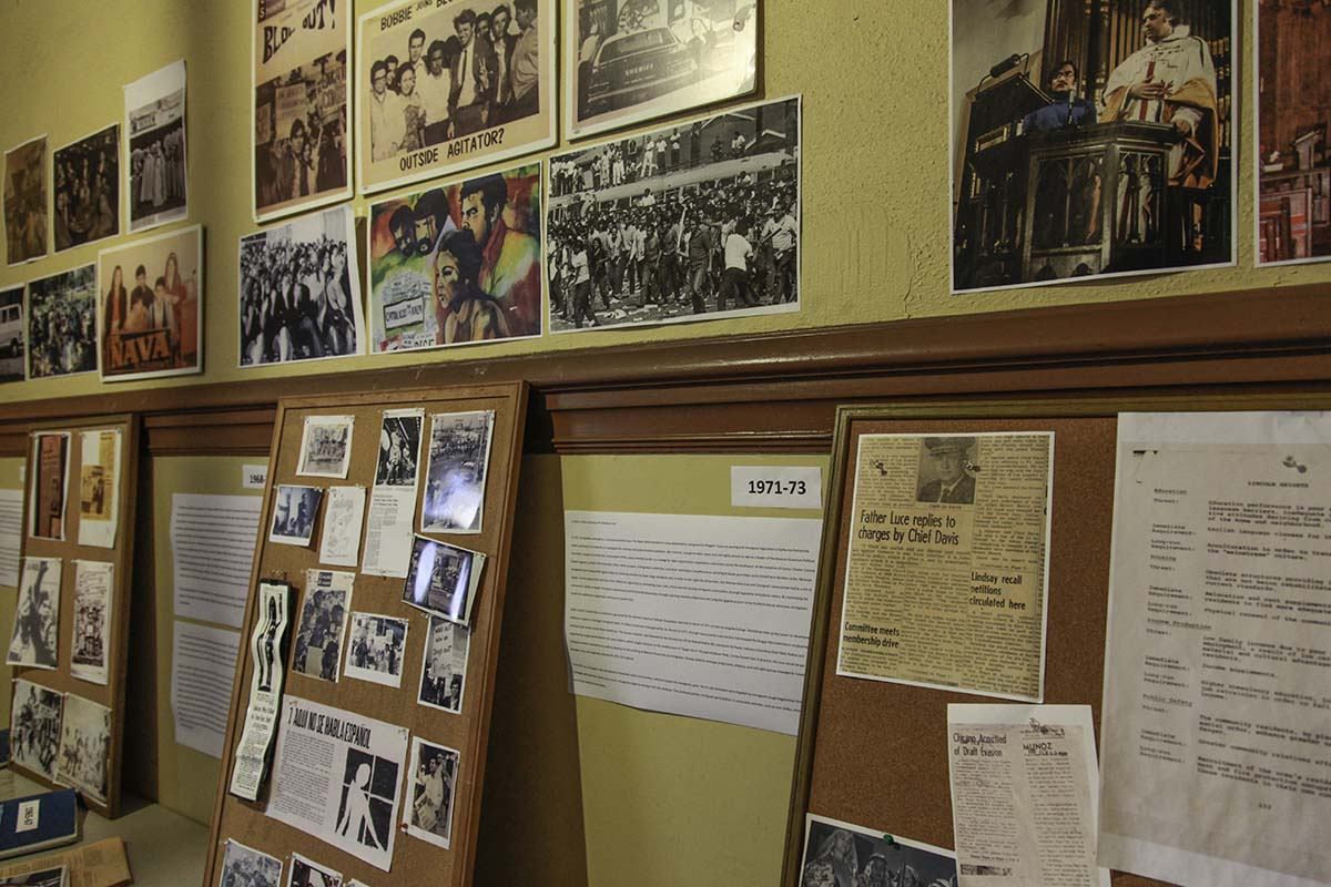 Chicano Moratorium history display, curated by Rosalio Muñoz | Courtesy of Ravi GuneWardena La Raza AB s9