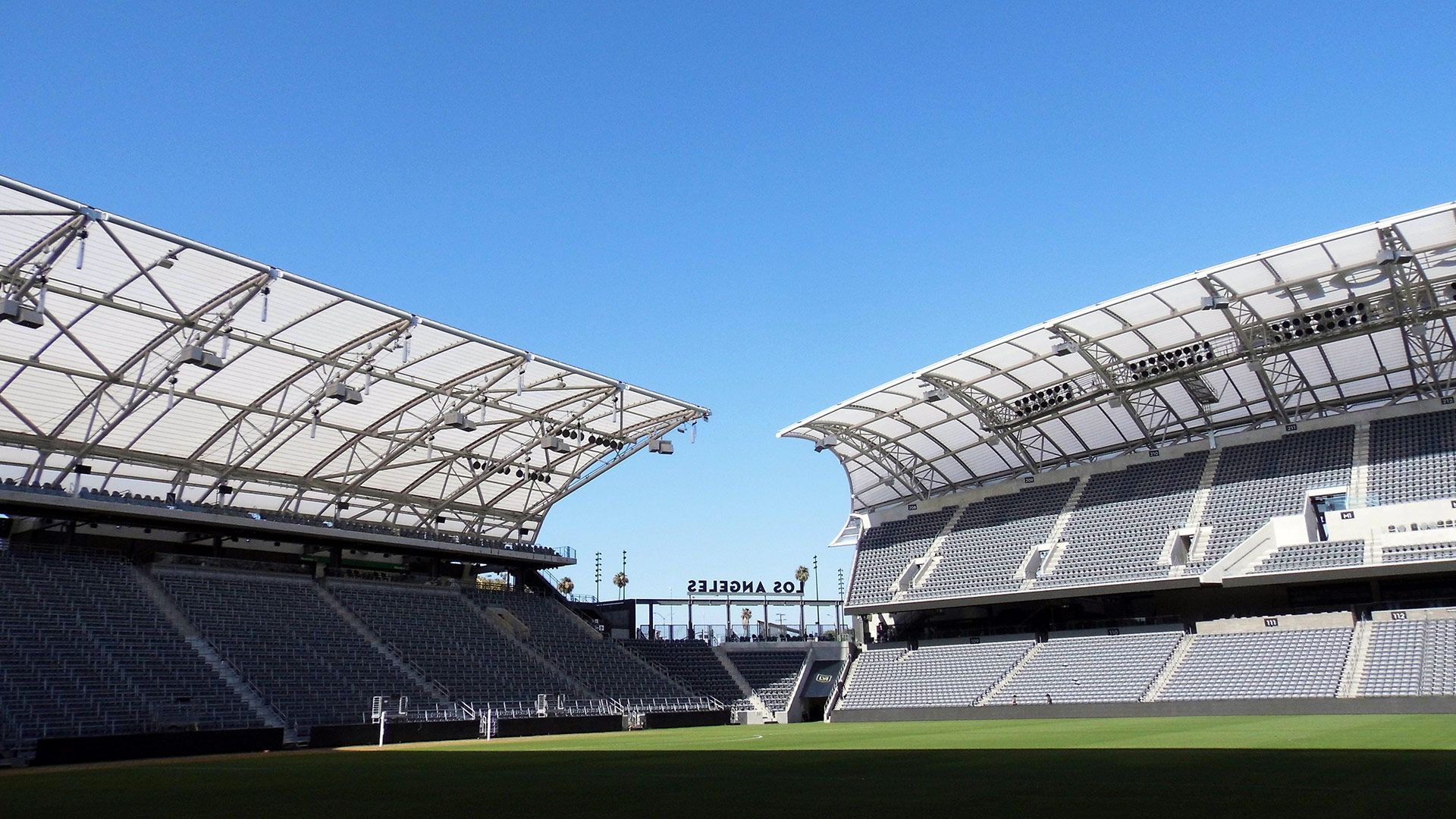 The plastic angel wing-shaped canopy at Banc of California Stadium | Sandi Hemmerlein