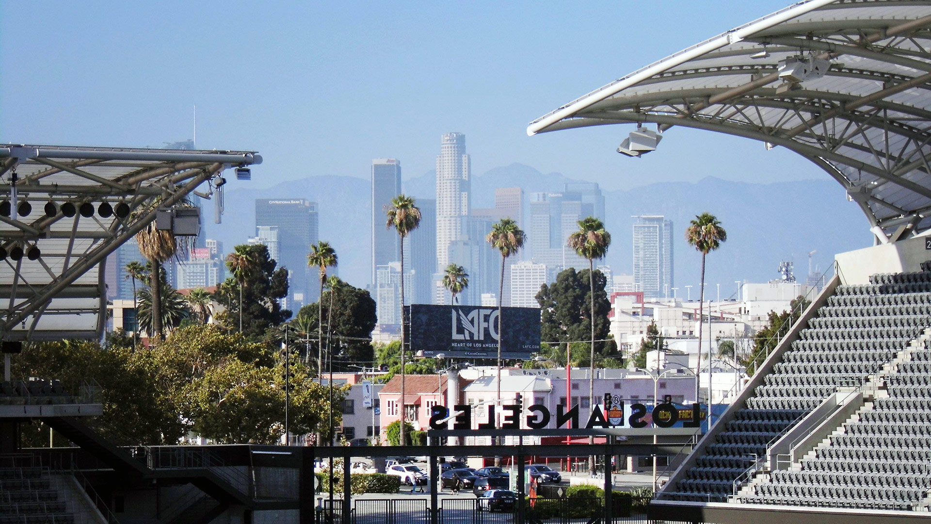 A framed view of the L.A. skyline from the southern stands at Banc of California Stadium | Sandi Hemmerlein