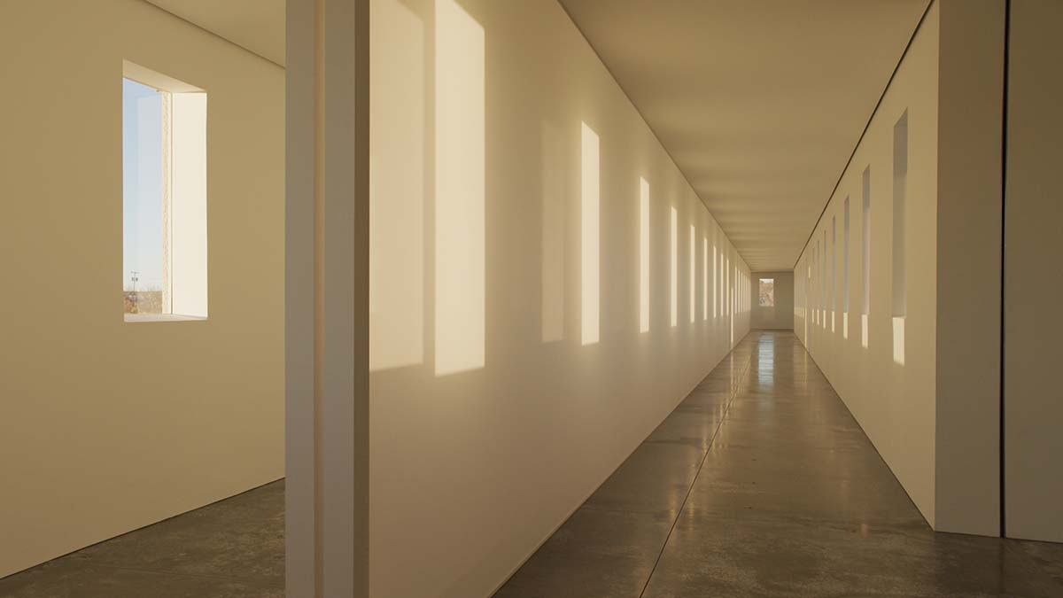 """A large-scale Light and Space artwork from Robert Irwin called """"untitled (dawn to dusk)"""" in the daylight. 