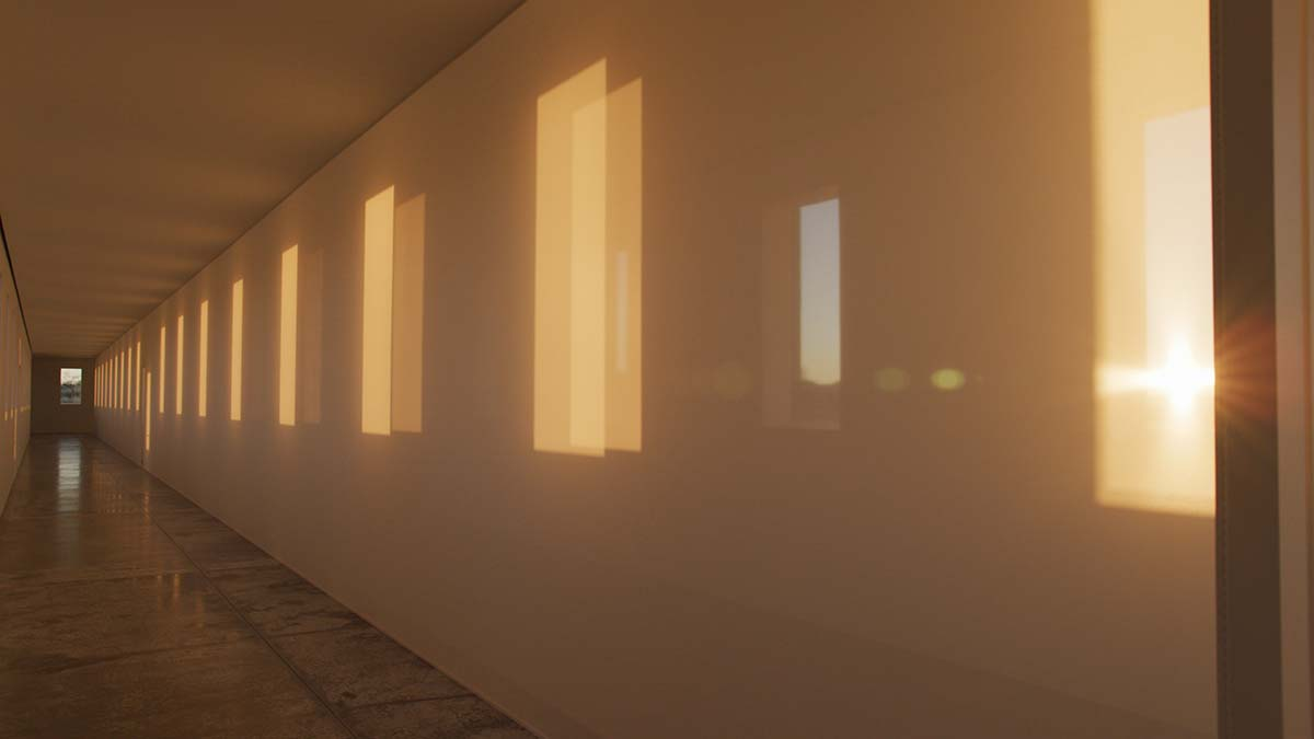 """A large-scale Light and Space artwork from Robert Irwin called """"untitled (dawn to dusk)"""" as the sun sets. 