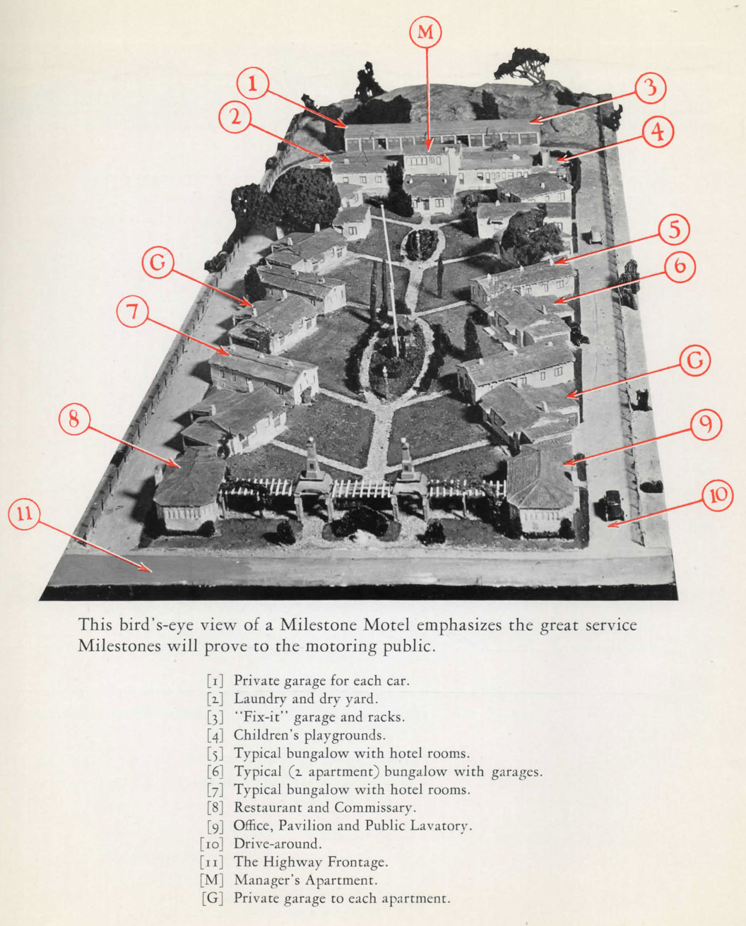 A bird's-eye view of a sample layout for the Milestone chain of motels, as envisioned by the Milestone Interstate Corp.
