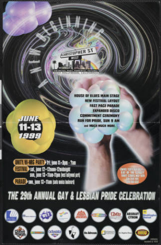 A new beginning, June 11-13 1999: the 29th annual gay and lesbian pride celebration poster, 1999.   McMan & Tate, Christopher Street West/Los Angeles, ONE National Gay and Lesbian Archives, USC Libraries