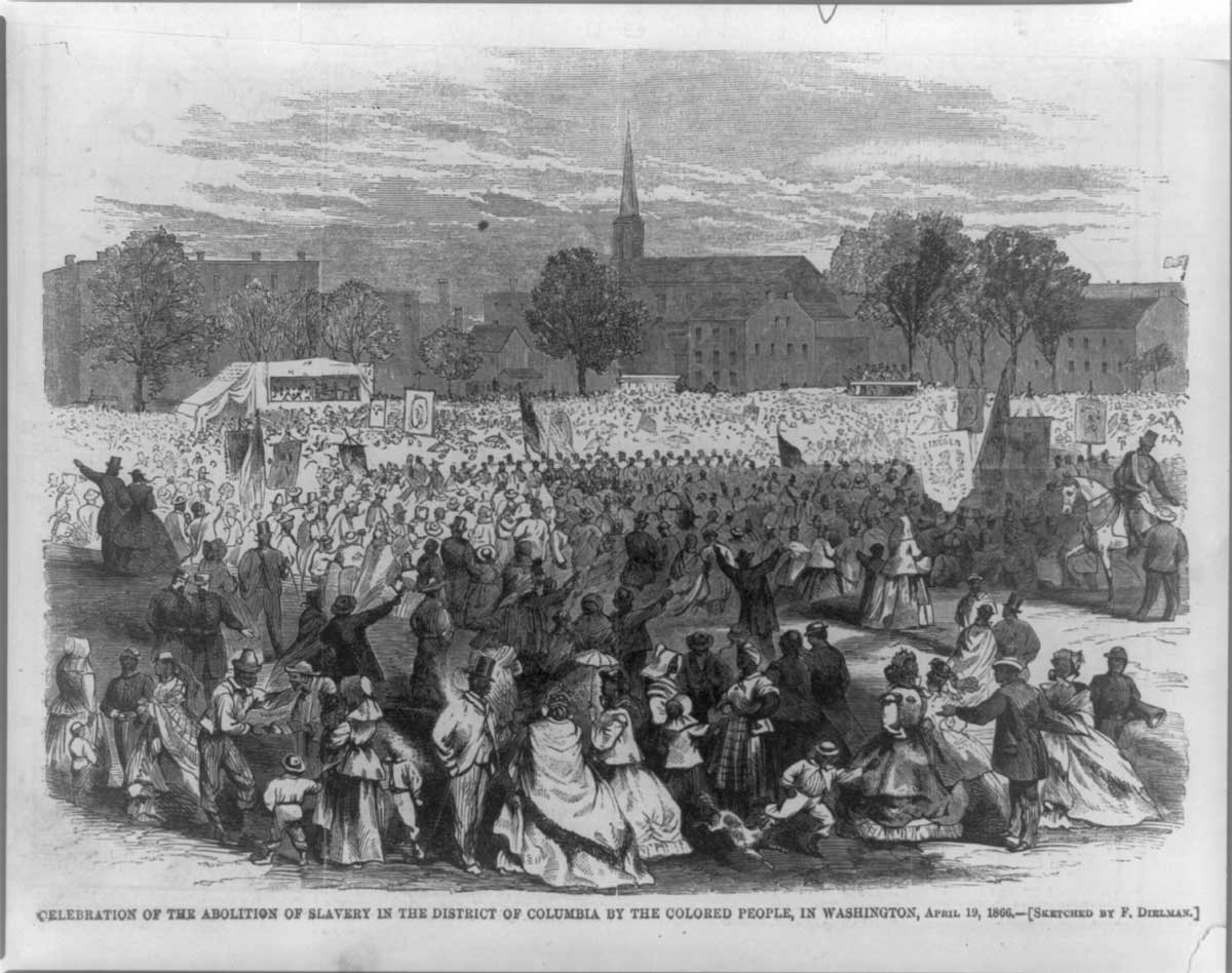 Celebration of the abolition of slavery in the District of Columbia by the colored people, in Washington, April 19, 1866 | Courtesy of the Library of Congress