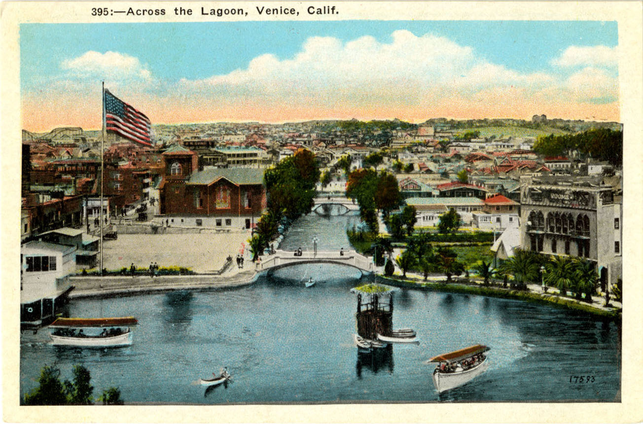 The canals converged on a large saltwater lagoon that later became a traffic circle. Courtesy of the Werner Von Boltenstern Postcard Collection, Loyola Marymount University Library.
