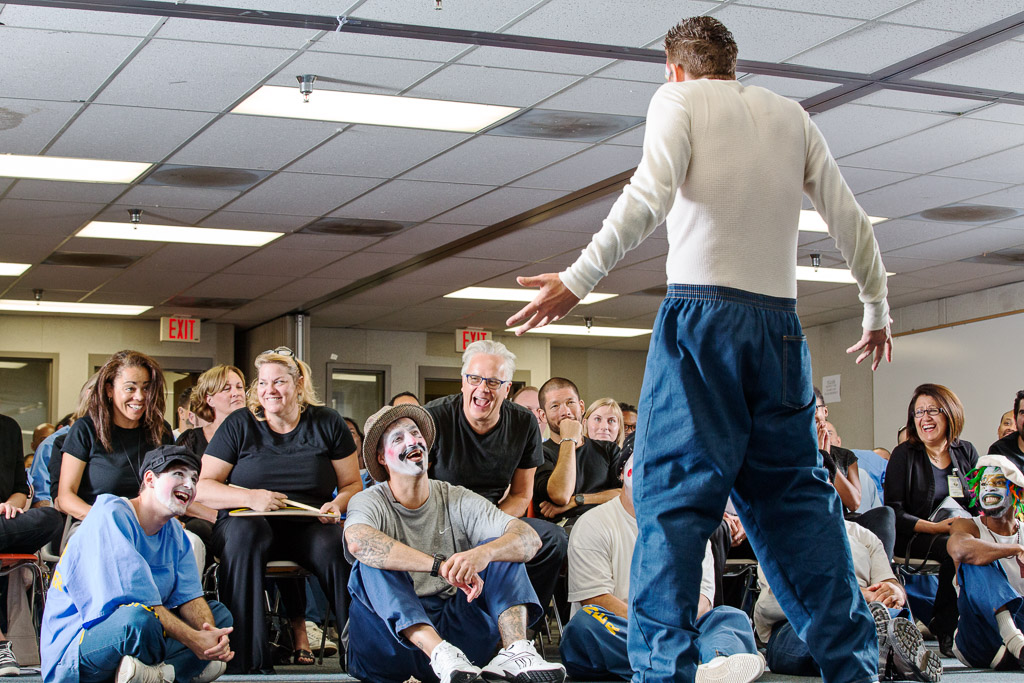 An inmate participates in a theater workshop conducted by The Actors' Gang of Los Angeles at the California Rehabilitation Center in Norco.