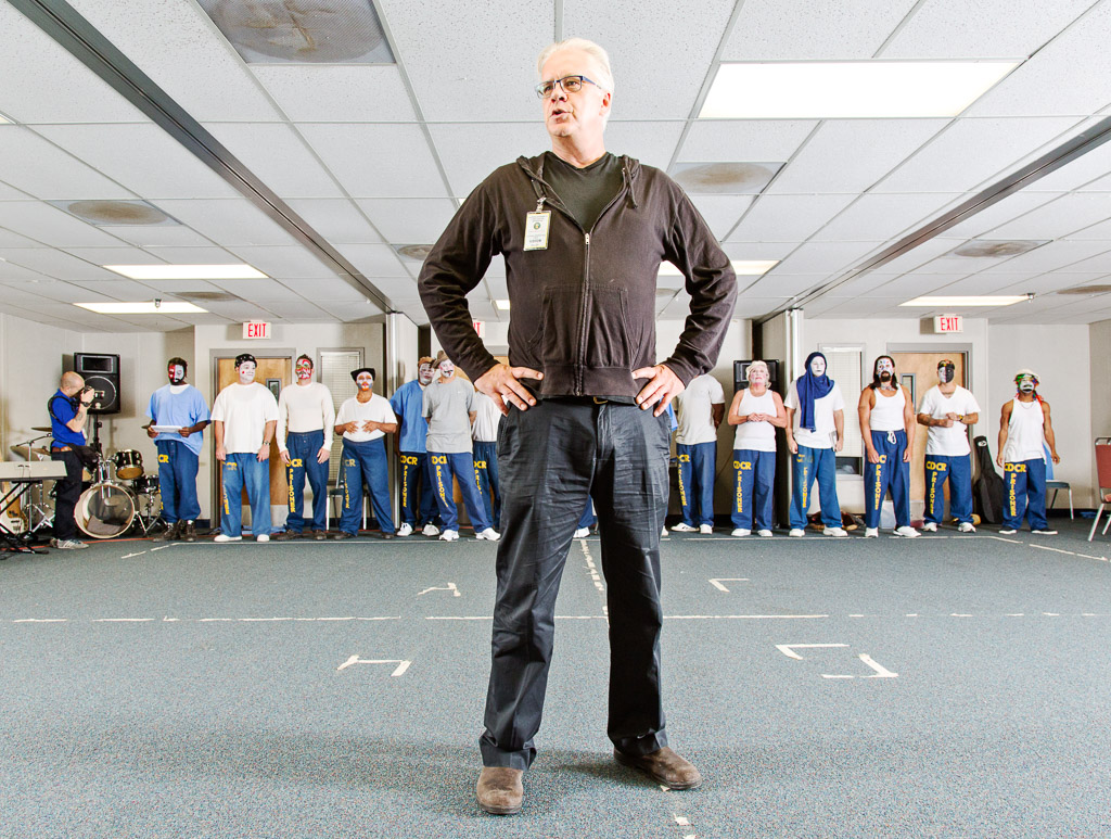 Tim Robbins, artistic director of The Actors' Gang in Los Angeles, conducts a workshop at  the California Rehabilitation Center in Norco.