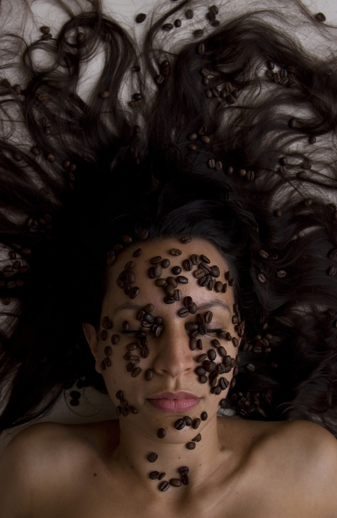 "Adriana, Colombian, ""Coffee Bean Face."" Portrait from Jaydee Dizon's ""Our Home Grains"" series."