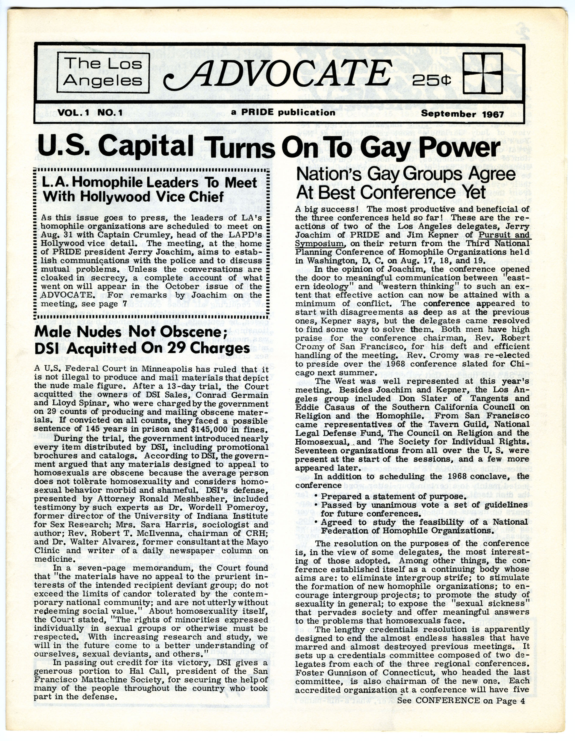 The first issue of the Los Angeles Advocate (later The Advocate), September 1967