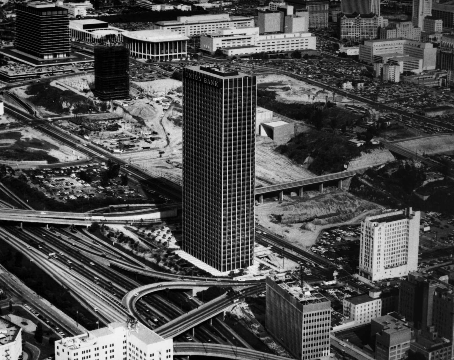 Aerial view of the Union Bank Square building in 1968