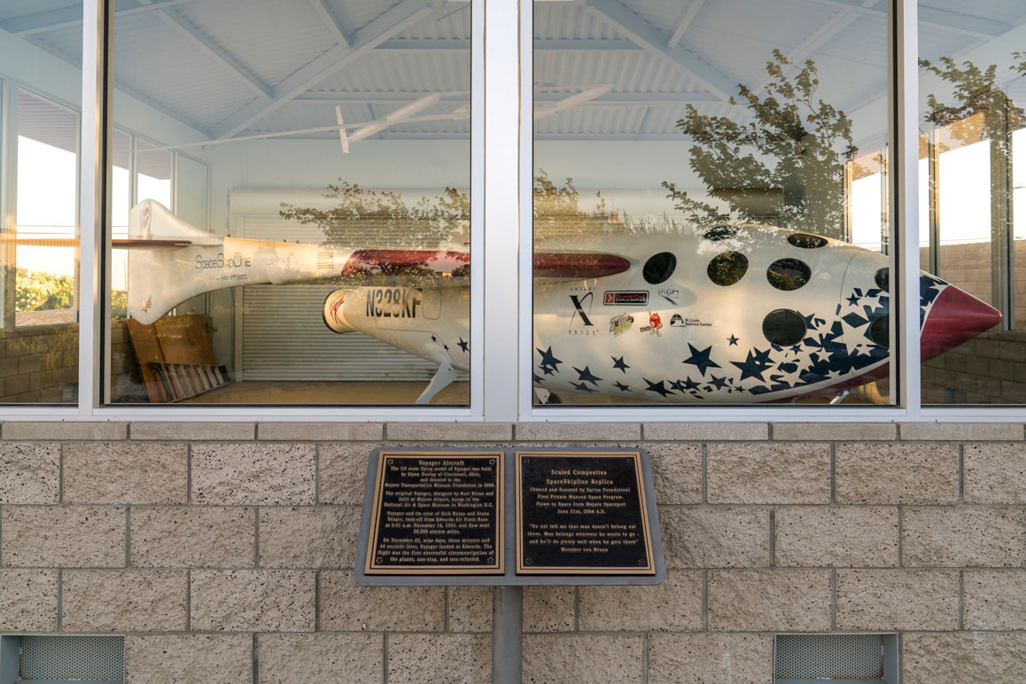 A replica of SpaceShipOne at the Mojave Air & Space Port. | Kim Stringfellow