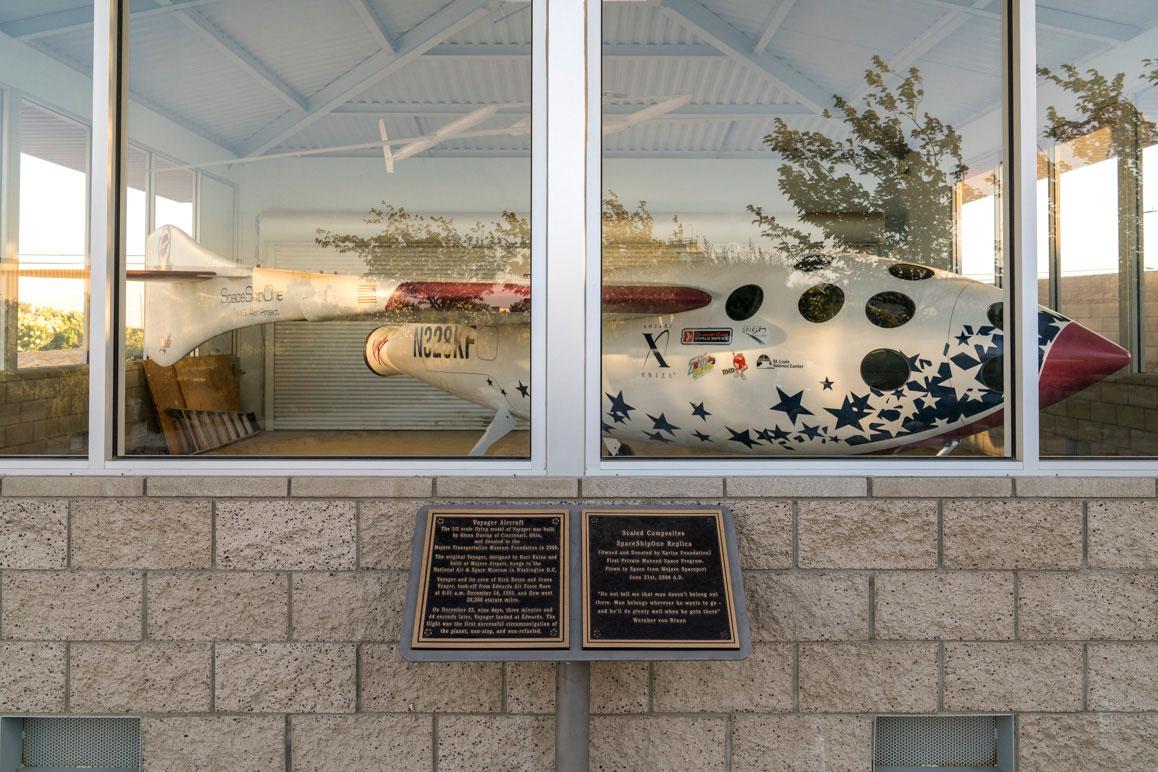 A replica of SpaceShipOne at the Mojave Air & Space Port. | Kim Stringfellow