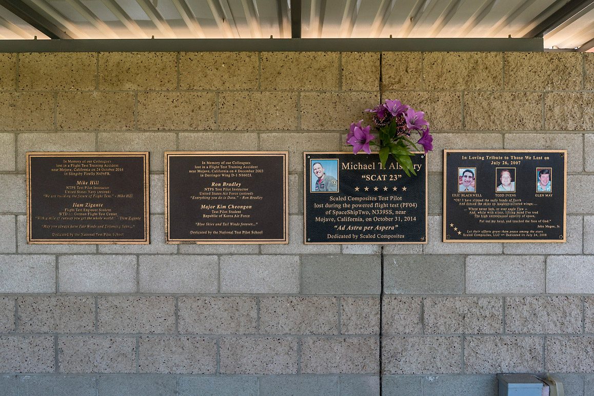 A memorial for the test pilots and engineers who have lost their lives during test flights and other testing operations at the MASP. | Kim Stringfellow