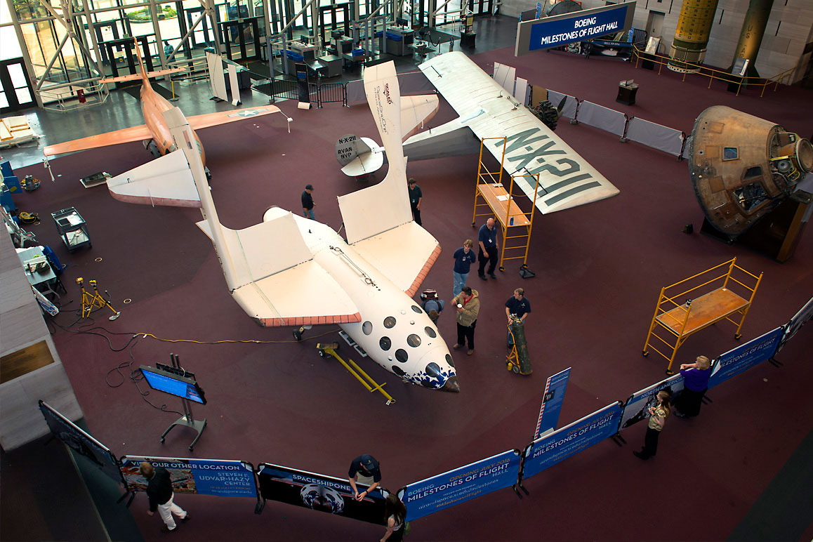 SpaceShipOne with its iconic feathering deployed at the Smithsonian National Air and Space Museum. | Mark Avino