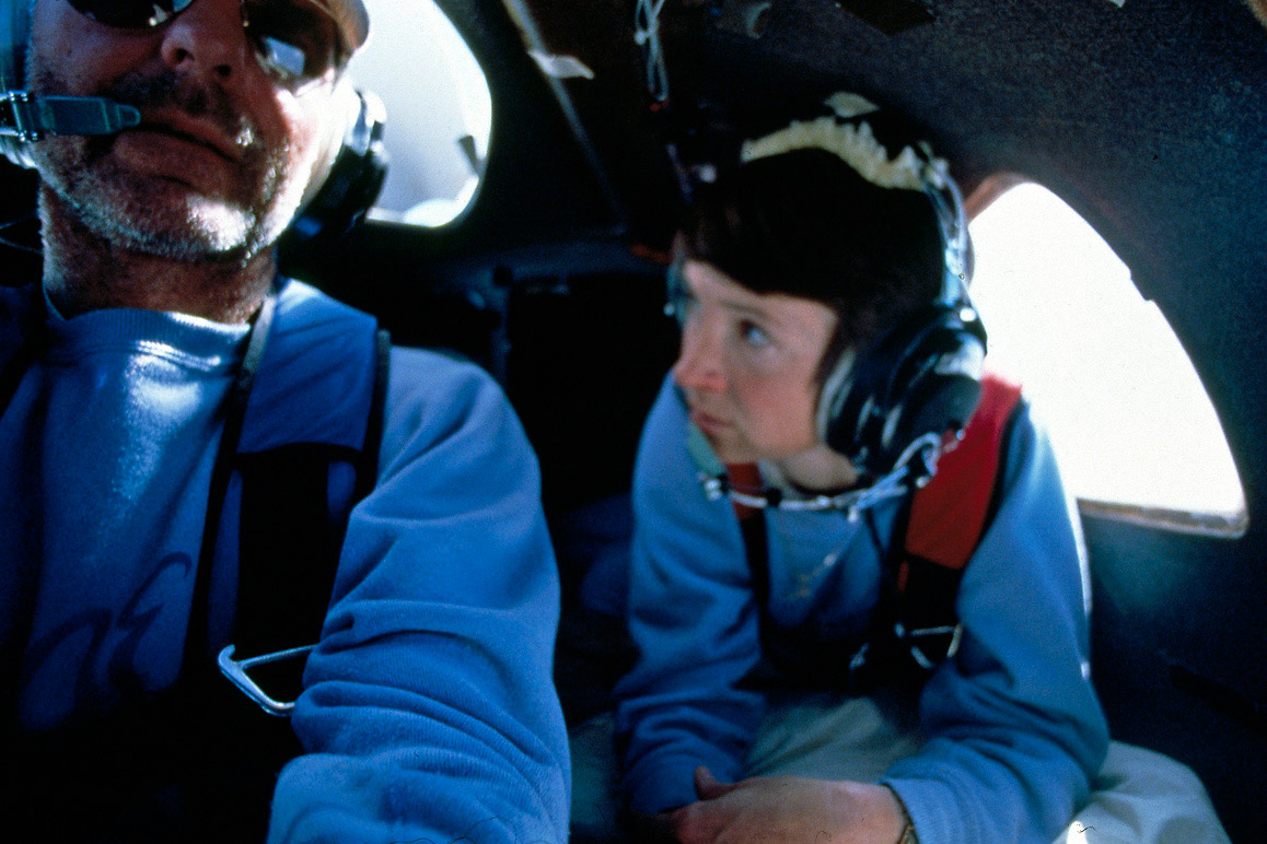 Dick Rutan and Jeana Yeager during the around the world, non-stop flight of the Rutan Voyager in December 1986. | Courtesy of the Smithsonian