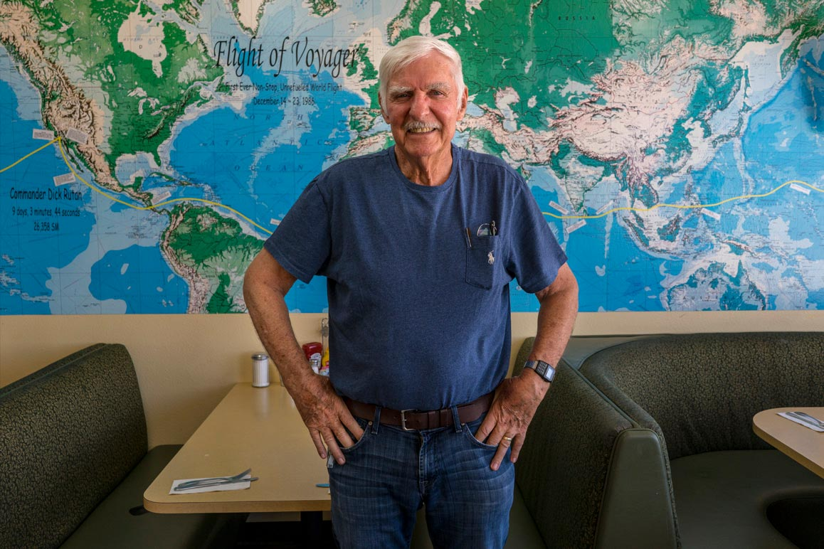 Dick Rutan photographed at the Mojave Air & Space Port's Voyager Restaurant in August 2018. | Kim Stringfellow