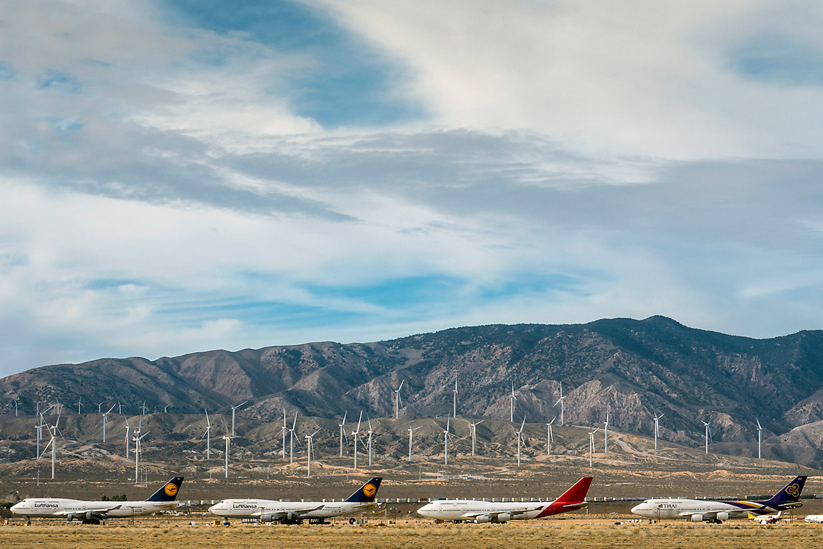 A view of Mojave's Boneyard taken from the runway of the Mojave Air & Space Port. | Kim Stringfellow